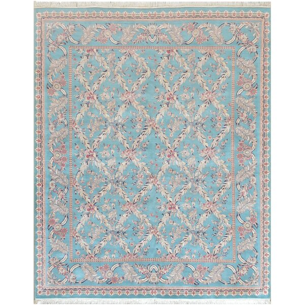 One-of-a-Kind Tabriz Fine Hand-Knotted Wool Blue Indoor Area Rug by Mansour