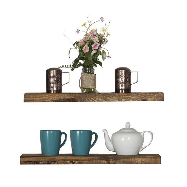 Modern Contemporary Floating Walnut Shelf AllModern New How Are Floating Shelves Attached