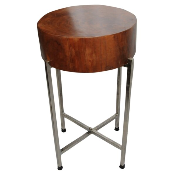 SURA Natural Wood Block Accent Table, Silvered Base by Foreign Affairs Home Decor