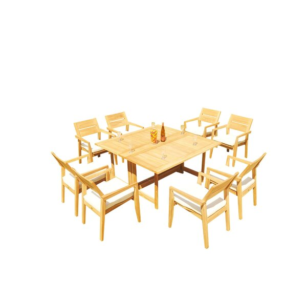 Maston 9 Piece Teak Dining Set by Rosecliff Heights