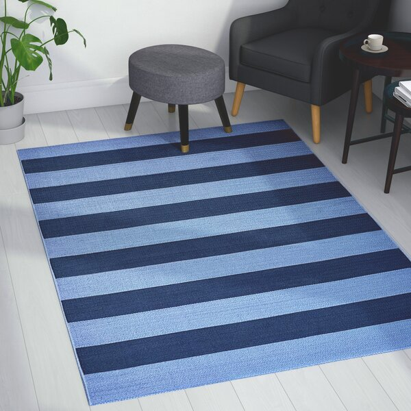 Deverick Stripe Blue/Navy Indoor/Outdoor Area Rug by Ebern Designs