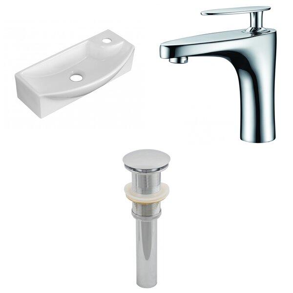 Ceramic U-Shaped Bathroom Sink with Faucet
