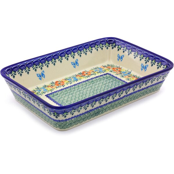 Pansy Circle Rectangular Non-Stick Polish Pottery Baker by Polmedia