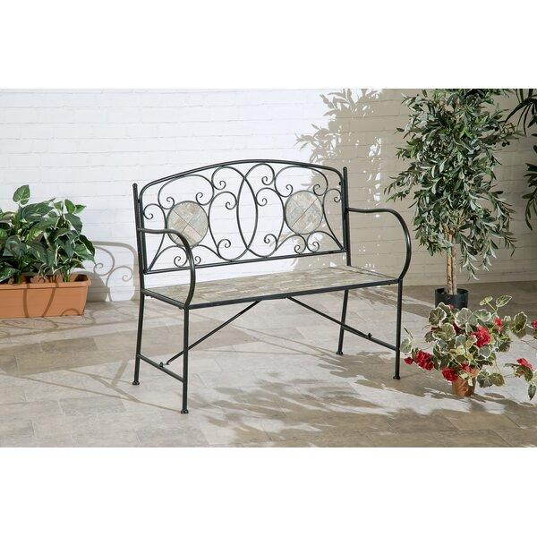 Morgane Mosaic Tile Iron Garden Bench by Fleur De Lis Living