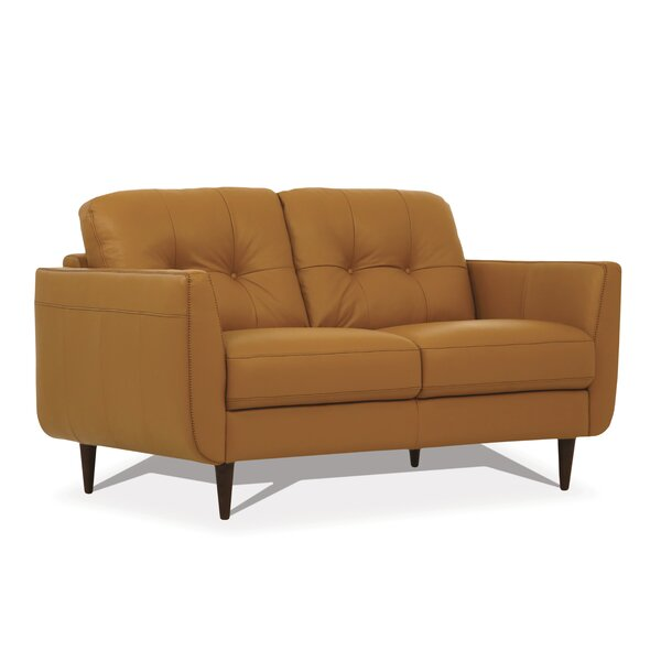 Deals Price Chisholm Leather Loveseat