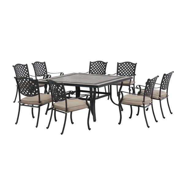 Schmidt 9 Piece Dining Set with cushions by Fleur De Lis Living