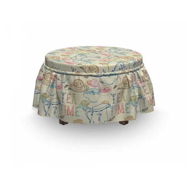 Tea Party Kitchenware Sweets 2 Piece Box Cushion Ottoman Slipcover Set By East Urban Home