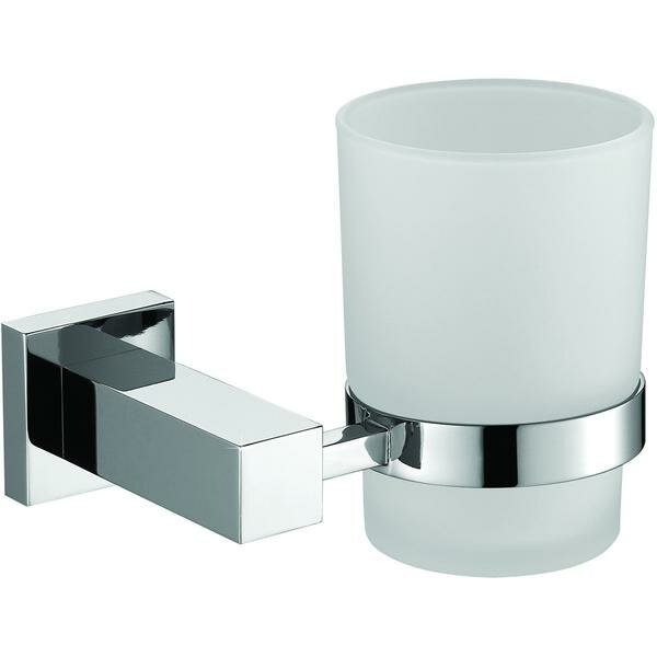 Solis Wall Mounted Glass Brass Toothbrush and Tumbler Holder by Orren Ellis