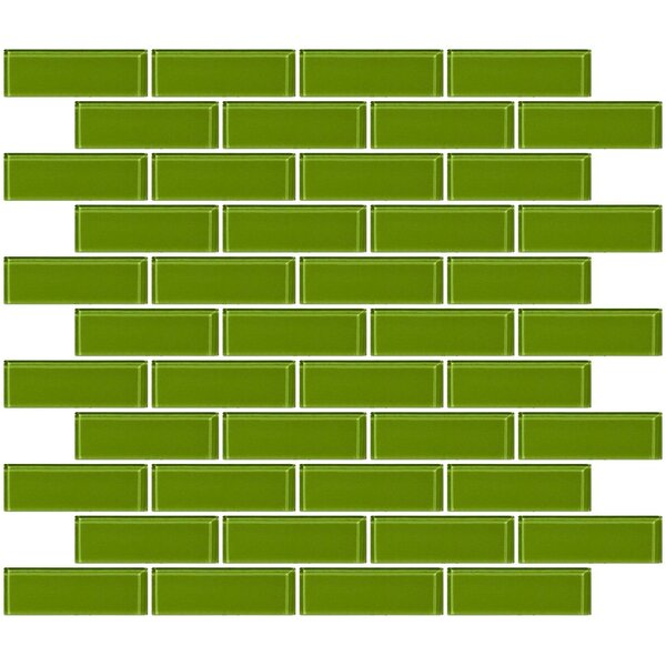 1 x 3 Glass Subway Tile in Dark Lime Green by Susan Jablon