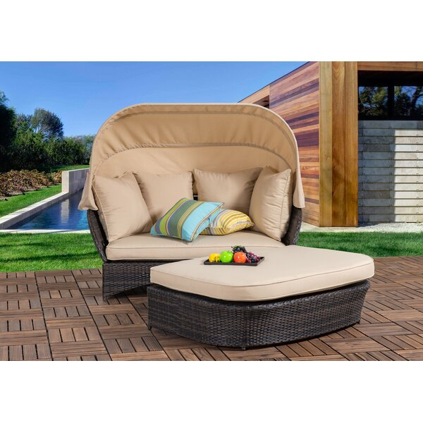 Tolbert Wicker Patio Daybed with Ottoman by Bay Is