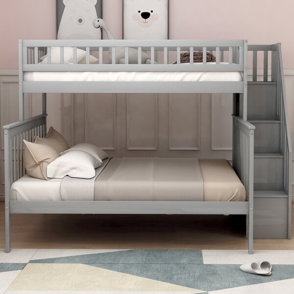 Havard Stairway Twin over Full Bunk Bed with Shelves by Harriet Bee