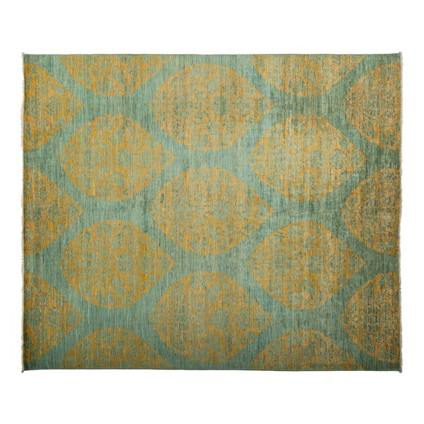 One-of-a-Kind Eclectic Hand-Knotted Green Area Rug by Darya Rugs