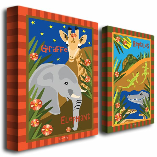 Animal Friends by Grace Riley Canvas Art (Set of 2) by Trademark Fine Art