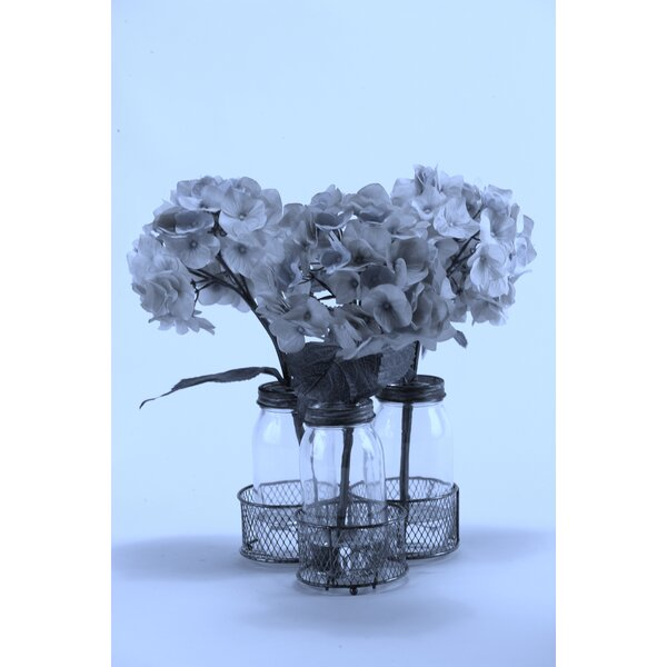 Hydrangeas in Glass Milk Bottles in Metal Holder by One Allium Way
