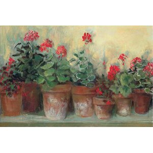 Kathleen's Geraniums Painting Print on Wrapped Canvas by August Grove