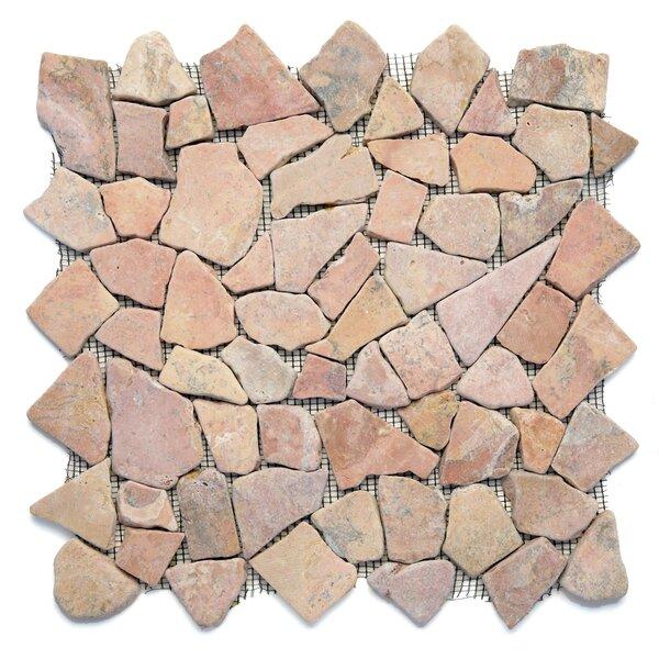 Decorative Pebbles Random Sized Natural Stone Pebble Tile in Sumatra Red by Solistone