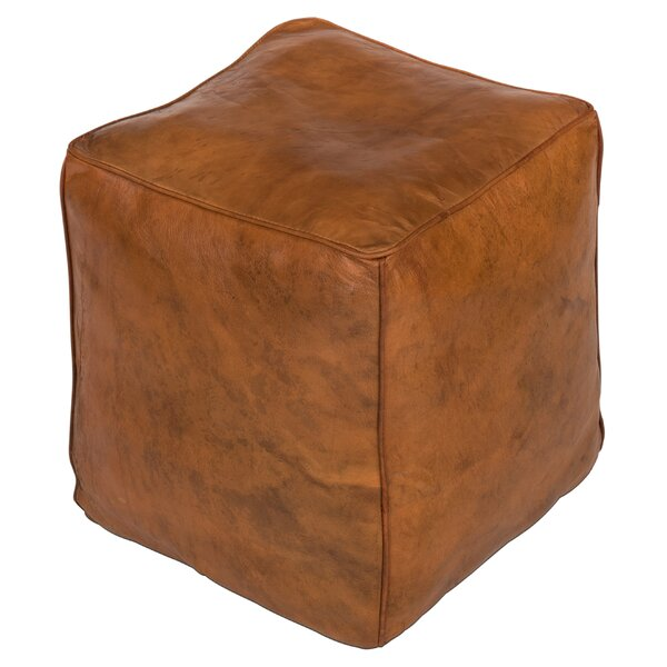 Wolfforth Leather Pouf By Charlton Home