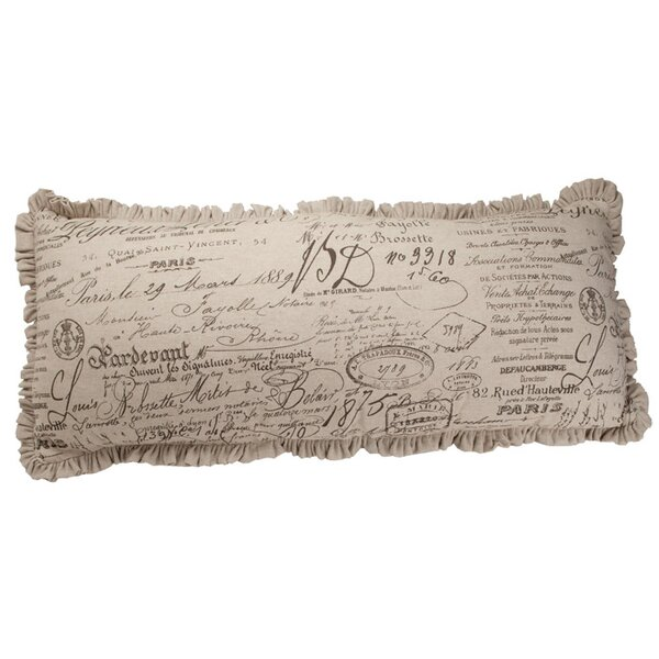 Auron Skinny French Script Cotton Lumbar Pillow by Provence Home Collection