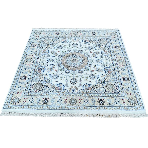 250 Kpsi Nain Hand-Knotted Ivory Area Rug by Bloomsbury Market