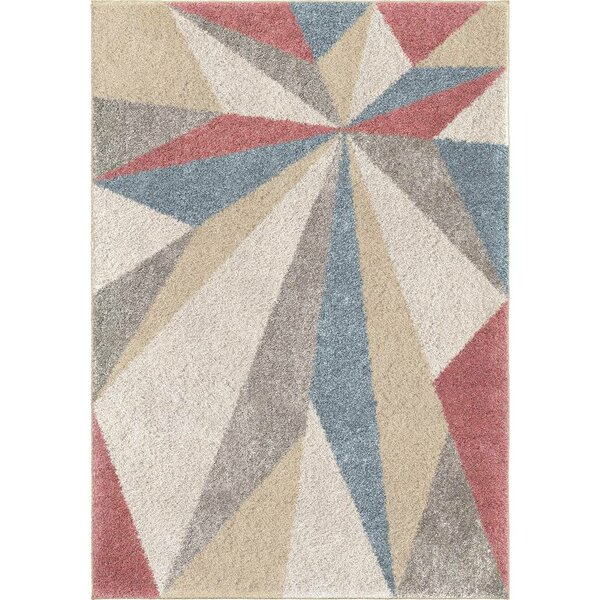 Card Sharp Edge Saffron/Ivory/Blue Area Rug by Wrought Studio