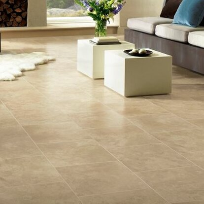 Stones and Ceramics 15.94 x 47.75 x 8.3mm Tile Laminate Flooring in Limestone Linen Sand by Armstrong Flooring