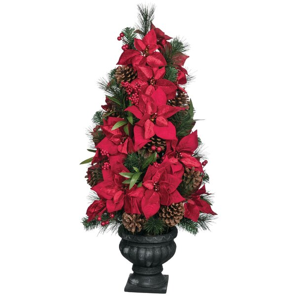Pine and Poinsettia Floor Foliage Topiary by The Holiday Aisle