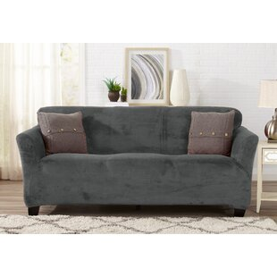 Velvet Plush Form Fit Box Cushion Sofa Slipcover