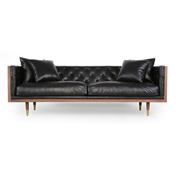 Lancaster Standard Classic Midcentury Leather Sofa by Comm Office