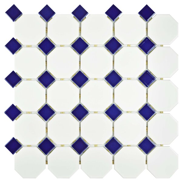 Retro Random Sized Porcelain Mosaic Tile in Matte White/Cobalt by EliteTile