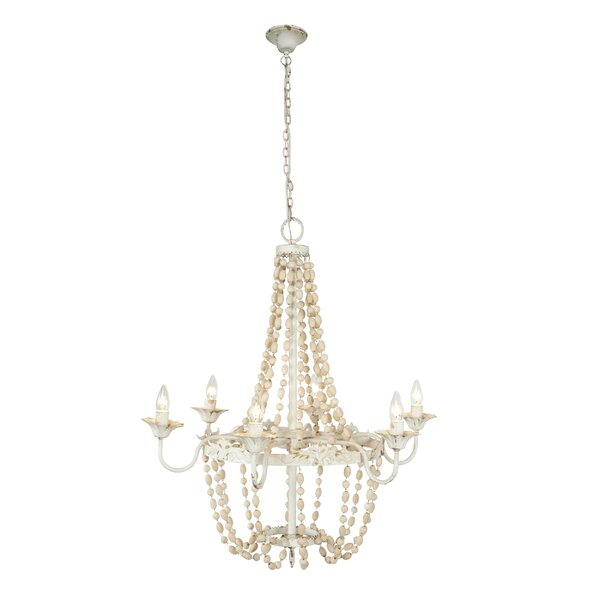 Okamoto Large Metal Bead 6-Light Candle Style Empire Chandelier by Bungalow Rose Bungalow Rose
