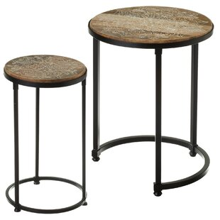 Duval Handpainted Floral 2 Piece Nesting Table by Bungalow Rose