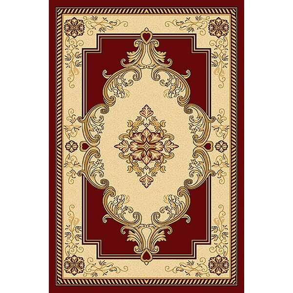 Ramsel 3D Traditional Oriental Floral Beige/Burgundy Area Rug by Astoria Grand