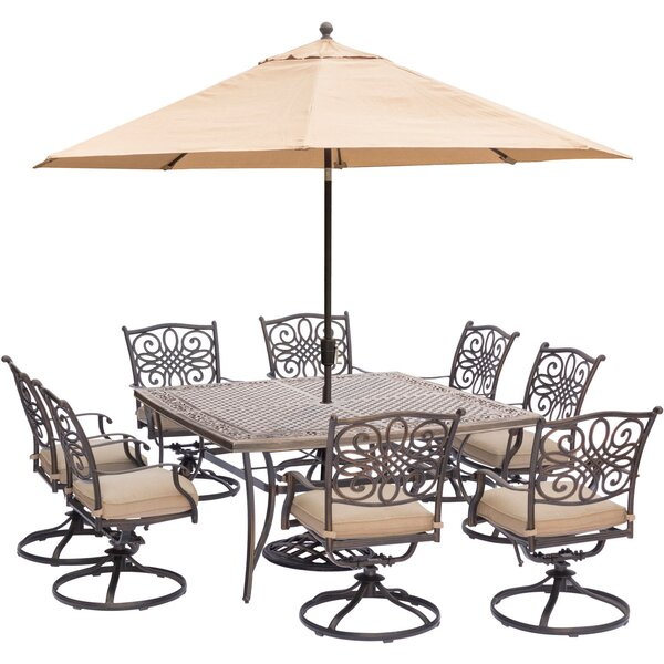 Carleton 9 Piece Square Metal Dining Set with Cushions and Umbrella by Fleur De Lis Living