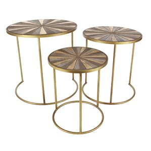 3 Piece Metal/Wood End Table Set by Cole & Grey