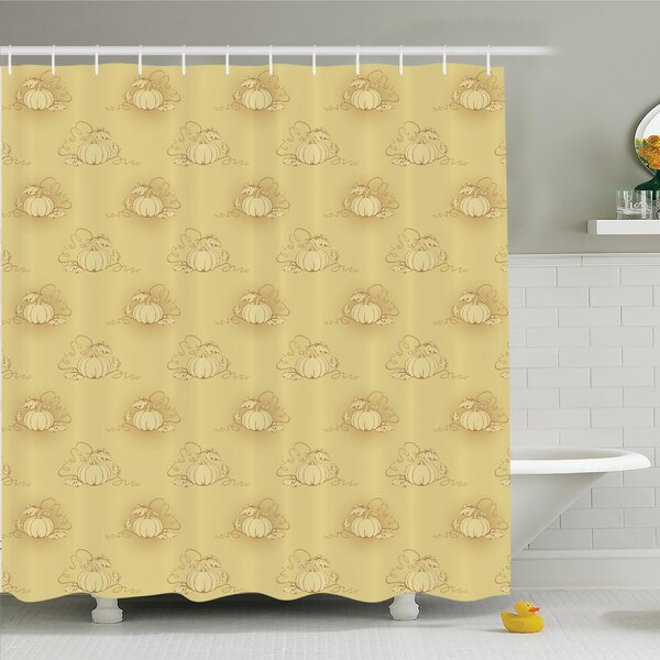 Pumpkins Field Shower Curtain Set by Ambesonne
