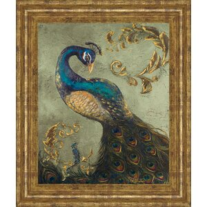'Peacock on Sage II' Framed Painting Print by World Menagerie