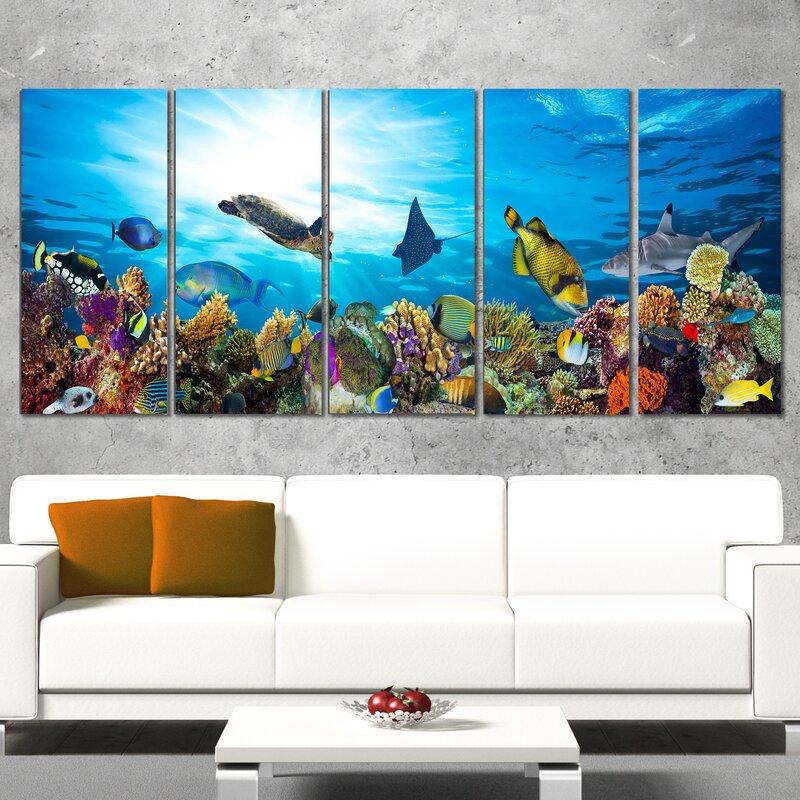 Récif De Corail Coloré Avec Des Poissons Art Mural De 5 Pièces Sur Ensemble De Toile Enveloppée