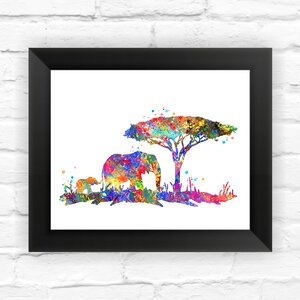 Baby Elephant and Mom Elephant Contemporary Watercolor Framed Graphic Art by Dignovel Studios