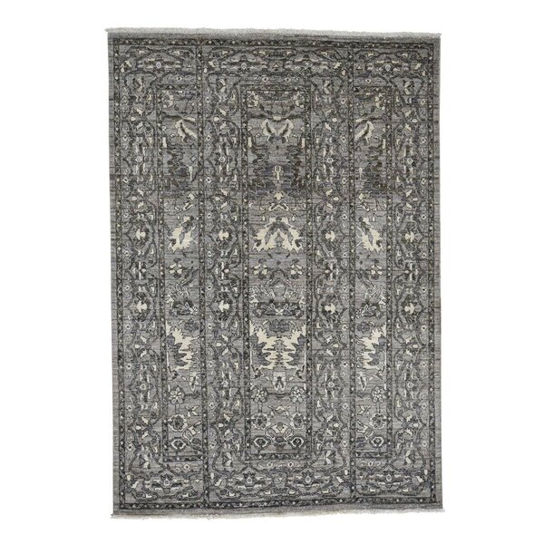 One-of-a-Kind Ferrier Natural Mahal Peshawar Oriental Hand-Knotted Gray Area Rug by World Menagerie