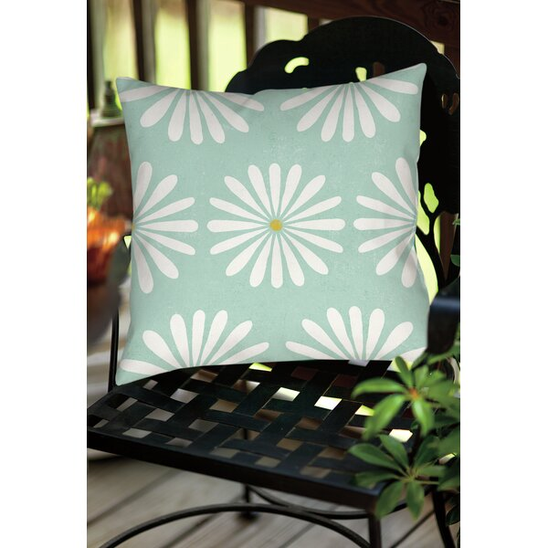 Jar of Sunshine Vintage Daisy Indoor/Outdoor Throw Pillow by Manual Woodworkers & Weavers