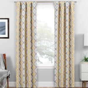 Edmond Geometric Blackout Thermal Rod Pocket Single Curtain Panel