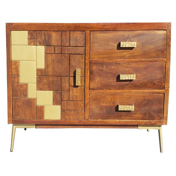 Hirano Mango Wood 1 Door Accent Cabinet by Union Rustic Union Rustic
