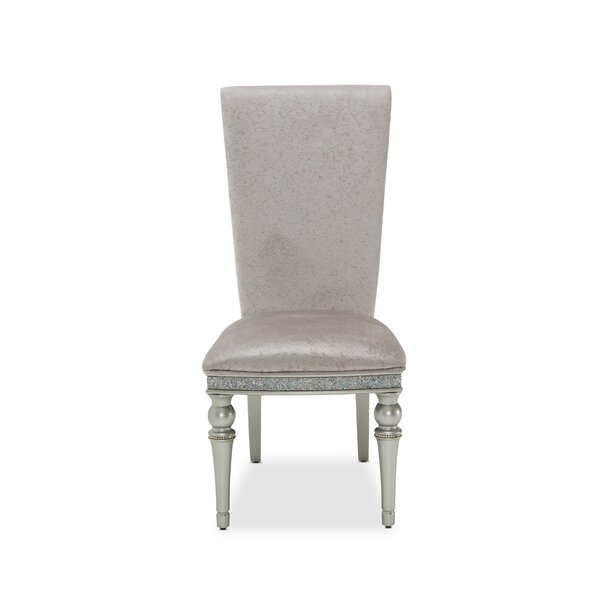 Melrose Plaza Upholstered Solid Wood Side chair on Dove by Michael Amini Michael Amini