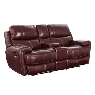 Chasse Leather Power Reclining Loveseat with Console