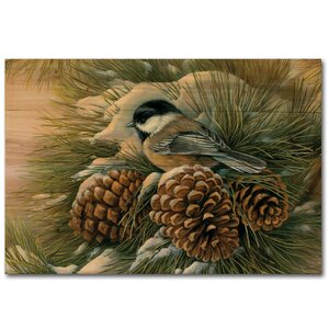 December Dawn Chickadee by Rosemary Millette Painting Print Plaque by WGI-GALLERY
