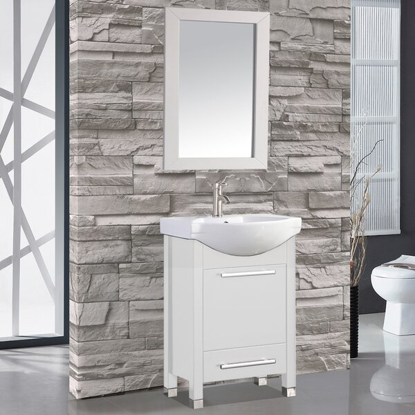 Peru 24 Single Sink Bathroom Vanity Set with Mirror by MTD Vanities