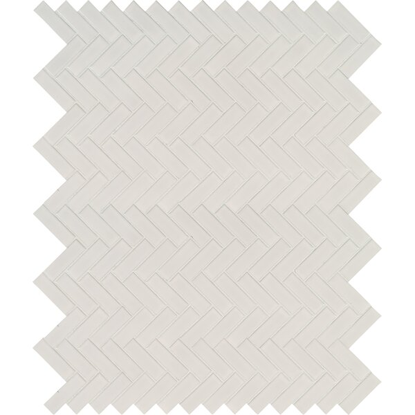 Domino Herringbone Mesh Mounted Porcelain MosaicTile in White by MSI