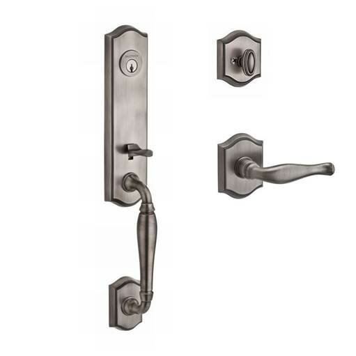 New Hampshire Single Cylinder Handleset with Decorative Door Lever and Traditional Arch Rose by Baldwin