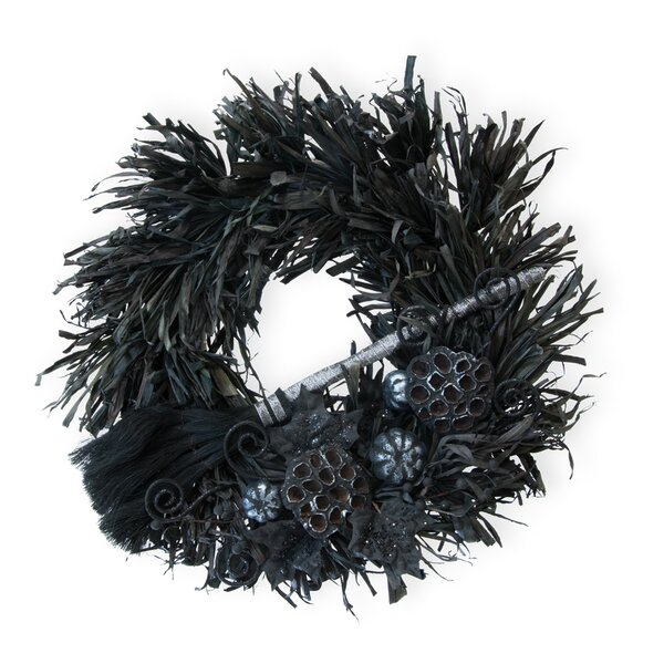Wicked Dark of Night 21 Feather Wreath by The Holiday Aisle