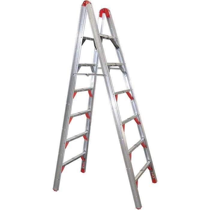 Fantastic Double Sided Folding 6 Ft Aluminum Step Ladder With 250 Lb Load Capacity Creativecarmelina Interior Chair Design Creativecarmelinacom